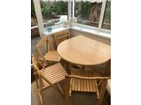 Pine veneer extendable table and chairs