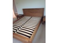 John Lewis solid wood 5 foot bed and matching cabinets