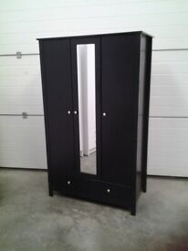Wardrobe. Black 3 door (middle mirrored) 2 drawers. SOLD WHOLE Bargain. Delivery available