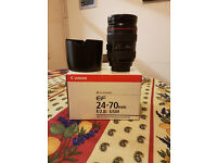 Canon EF 24-70mm f/2.8L USM - Mint Condition with Original Box and lens hood