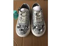 Girls monsoon silver trainers/pumps
