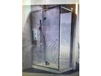 Shower enclosure with sliding door, tray and waste pack. New. Width 1200mm Depth 760mm