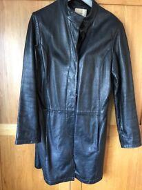 Beautiful ladies size medium black leather 3/4 length coat great condition