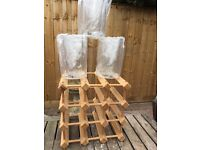 12 Bottle Wine Rack and Three Brand New White Wine Perspex Coolers
