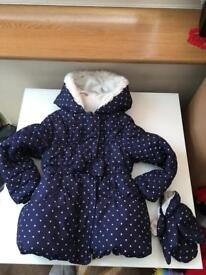Lovely girls kids coat jacket with matching gloves 4-5years