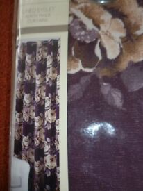 curtain brown flowery eyelet width 114 cm x 182 cm drop