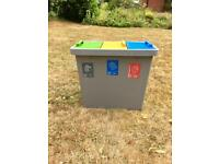 Recycling system container - 3 compartment
