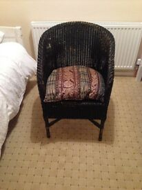 Real wicker chair painted black