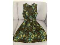 Karen Millen Floral Jacquard Dress in Green, Size 6