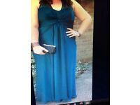 Evening dress size 18 petrol blue ONO