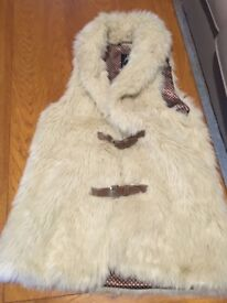 Faux Fur Waistcoat Jacket; UK 6; Brown Polka Dot Lining and Two Brown Belt Fastenings