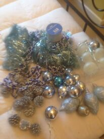 Silver & blue decorations