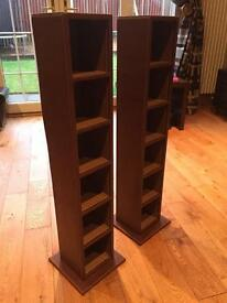 CD Tower x 2 in brown leather