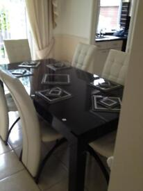 Dinning table 6 leather chairs