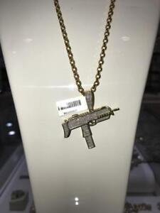 10kt Yellow Gold And 0.80ct Diamond Gun Pendant Set with Rollo chain