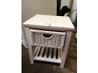 Small bedside table with wicker drawer