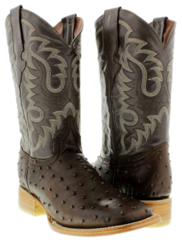 Mens, Brown, Ostrich, Quill, Western, Cowboy, Pattern, Leather, Boots, Rodeo, Square, Toe