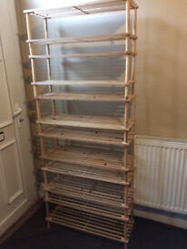 6 x wooden shoe racks (with 12 shelves total) £6