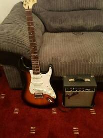 Squier guitar and amp