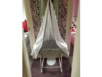 Moses Basket with stand and drape by Clair De Lune