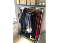 Stylish Clothes Rail with Wheels (RECLAIMED WOOD AND STEEL