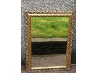 LARGE GOLD GILT SCROLL ENGRAVED MIRROR