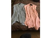 2x women's long knitted cardigans
