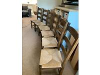 Six Solid wood chairs with rush seats