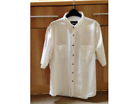 Mens size Large white short sleeve button up shirt from Topman