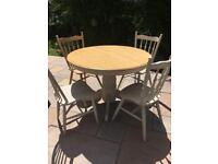 Round farmhouse kitchen table and chairs