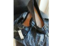 FREE Ladies black Wedge Heeled Shoes