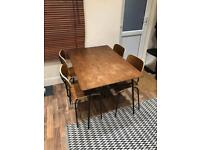 Walnut veneer dining table and 4 chairs