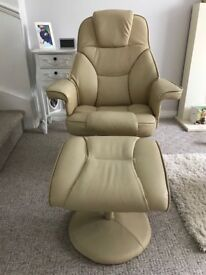 Beige leather recliner with matching footstool