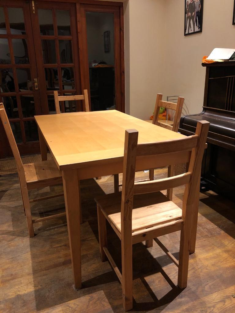 Wooden Dining Room Table 4 Chairs 75 ONO