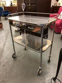 Beautiful vintage medical stainless steel trolley with drawers