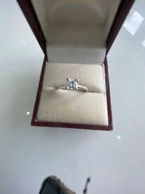 Diamond solitaire princess cut square half carat white stone set in 18ct white gold