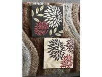 2 Brown Wooden Canvas