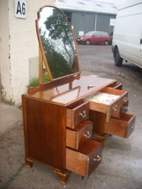 ratty style drawers dressing table vintage mirror dresser c. 1950, chest of drawers. Solid wood.