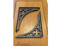 Pair of reclaimed gothic cast iron shelf brackets
