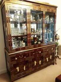 Grand Red Lacquer Mother Of Pearl Chinese/Oriental/Asian Display Cabinet.