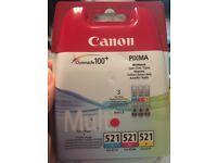 Canon genuine inks - 521 x 3 colour inks - new