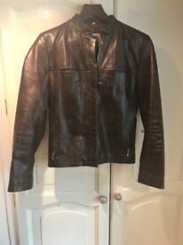 Ladies brown leather jacket . Small