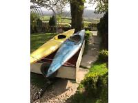 2 Kayaks, 2 ores, 2 life jackets and trailer for sale