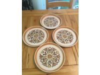 4 Retro Dinner Plates by Denby , Canterbury Design,used