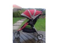 Baby Jogger City Mini Single Red with rain and sun cover
