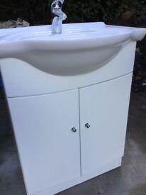 Bathroom basin in cabinet