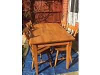 """Quality dining table and four chairs in good condition, 48"""" (L) x 30"""" (W) x 30"""" (H) only £60"""