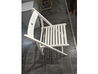 IKEA white drop leaf dining table and chairs (stored in table!)