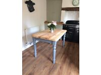 Solid pine kitchen table / dining room table with stripped top and painted base