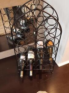 26 Bottles Holder Laura Ashley Wine Rack:  Black Arched (10 w x 7l x 47 h), Free Standing Metal with Handle